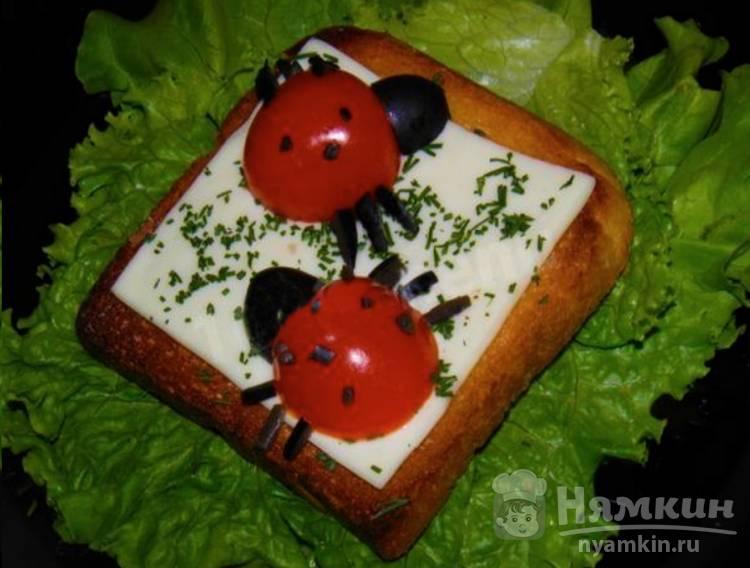 Бутерброды для детей Божья коровка