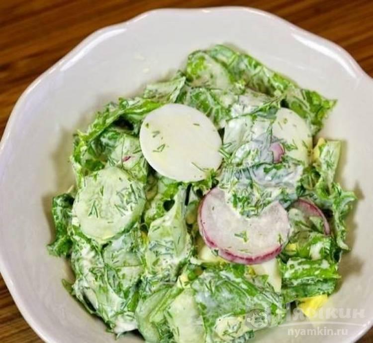 Легкий салат из редиски и огурцов на майонезе