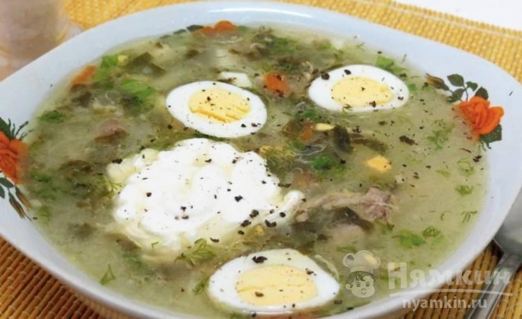 Постный суп из консервированного щавеля и перепелиных яиц