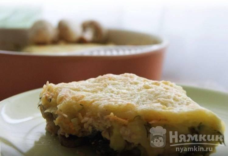Картофельная запеканка с куриным филе и грибами