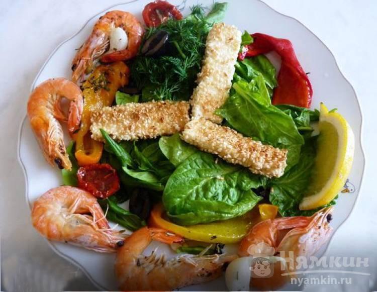 Изысканный салат с запеченными креветками и перцем