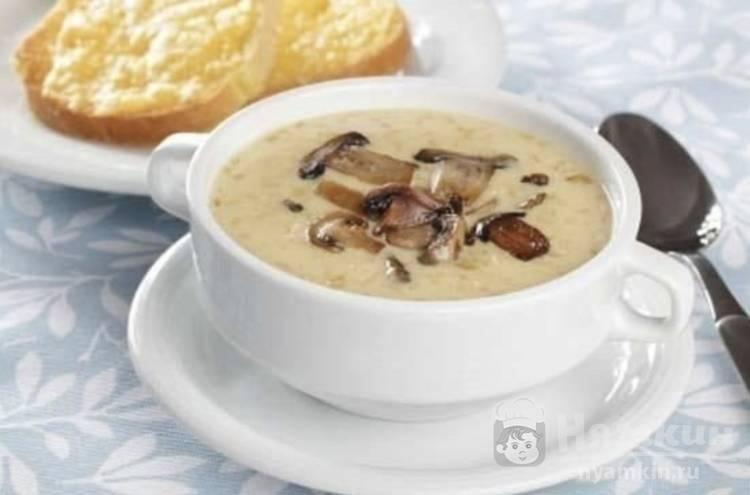 Вегетарианский грибной суп с плавленным сыром