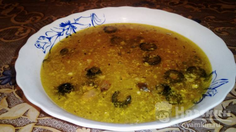 Рыбный суп с сардиной и маслинами
