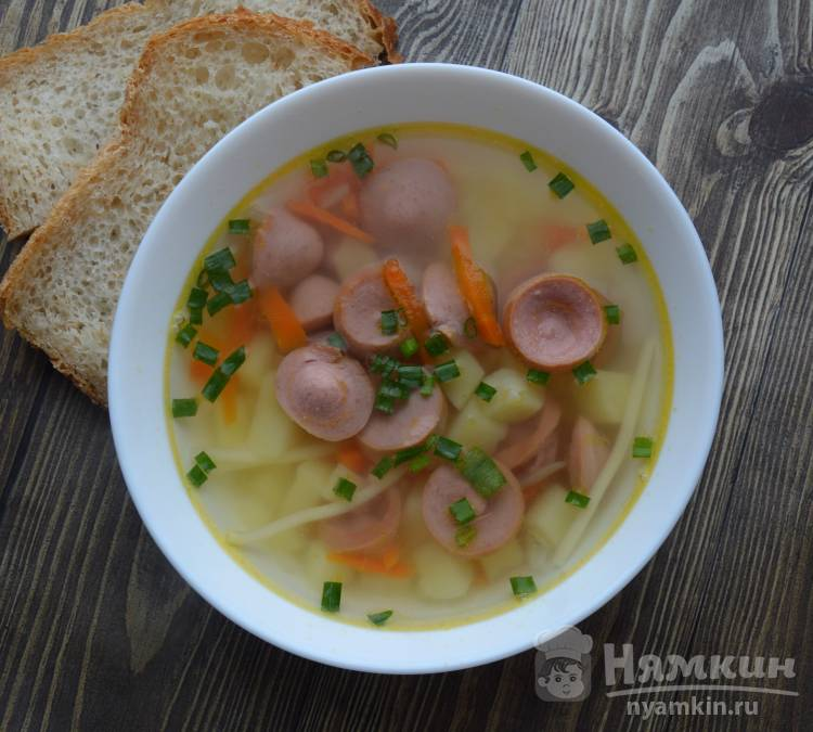 Суп с сосисками и вермишелью