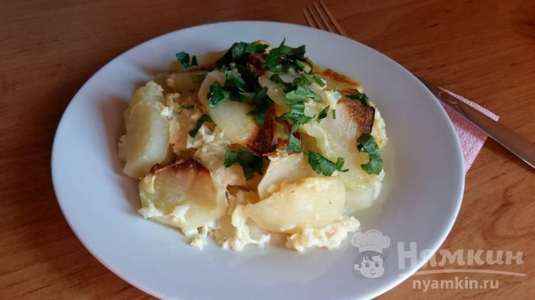 Запеченный картофель в молоке и яйце