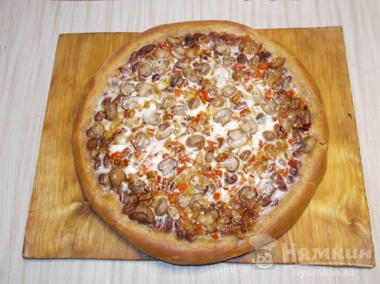 Пицца с фасолью постная