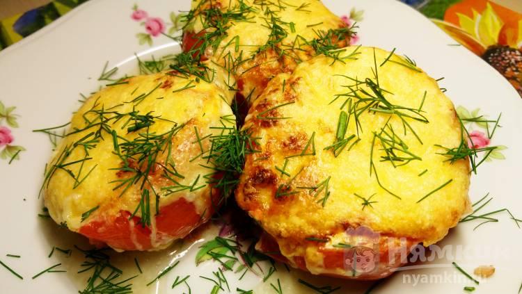Теплая закуска из фаршированных помидоров