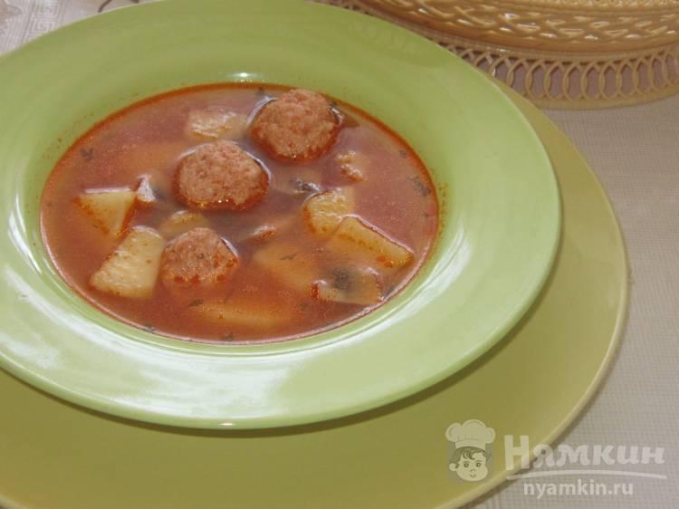 Суп со свиными фрикадельками и шампиньонами