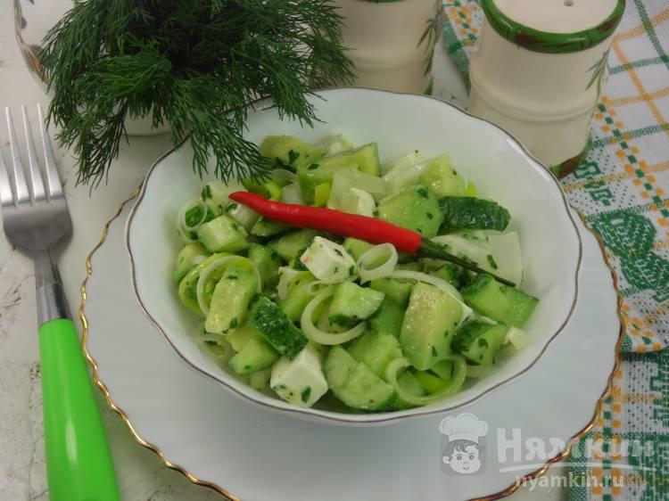 Зеленый салат с огурцом и авокадо