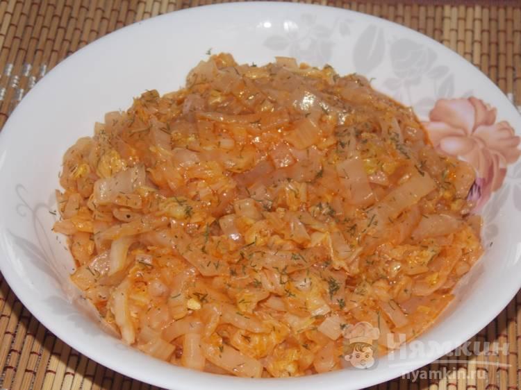 Постная тушеная пекинская капуста на сковороде