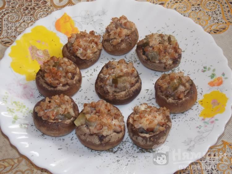 Шампиньоны запеченные с гречкой в духовке