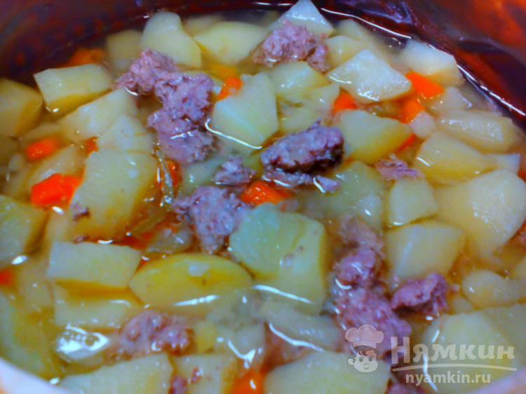 Картошка с фаршем тушеная в горшочке