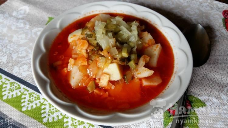 Томатный суп с солеными огурцами