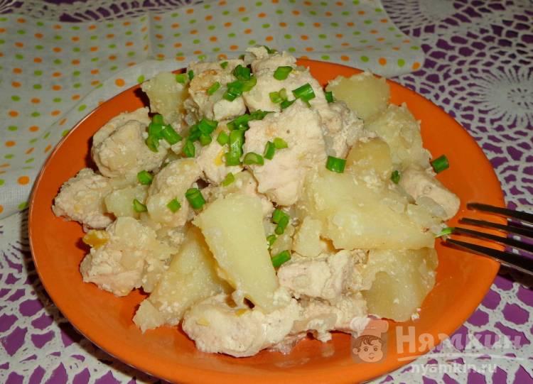Картошка с индейкой в сливках