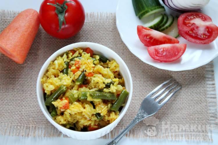 Рис гарнирный с овощами в микроволновке
