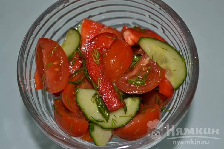 Салат с помидорами черри, огурцом и болгарским перцем