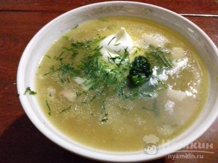 Гороховый суп с обжаркой из копченой грудки