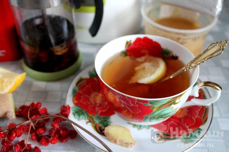 Чай витаминный с калиной, имбирем и  медом
