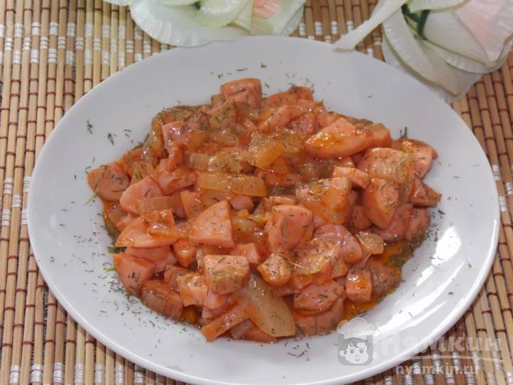 Подлива томатная с сосисками для гарниров