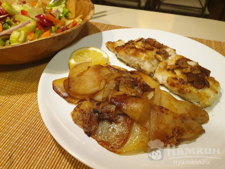 Жареная треска с картофелем