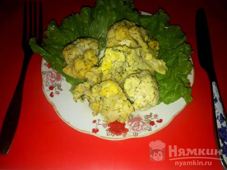 Цветная капуста с яйцом в духовке