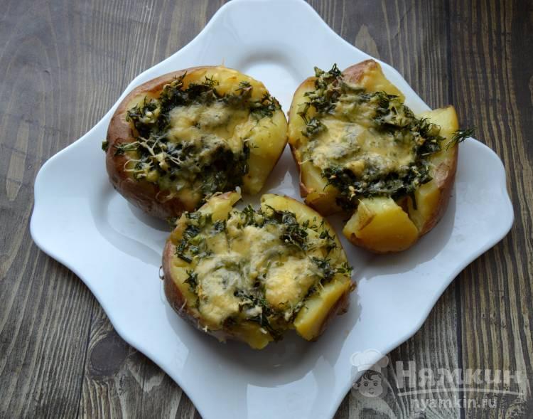 Картошка запеченная с зеленью и сыром