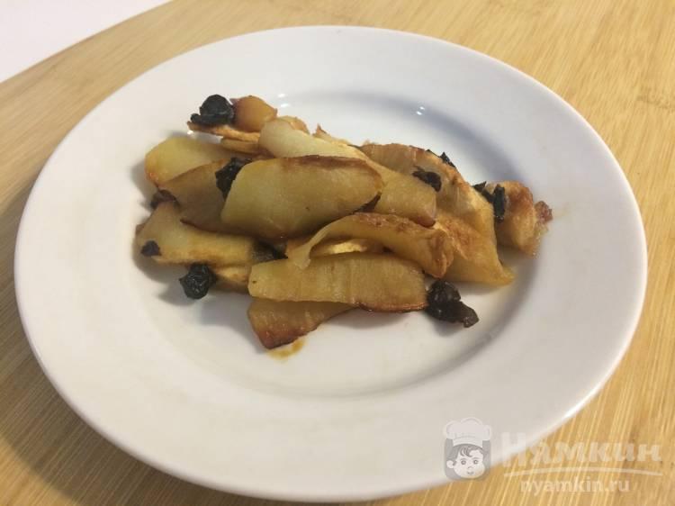 Запеченные яблочные дольки с черносливом