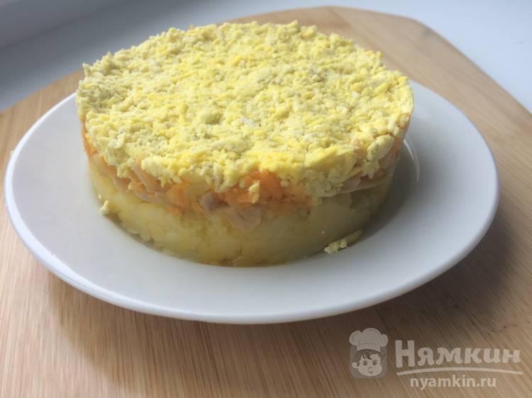Закусочный торт из картофеля и шампиньонов