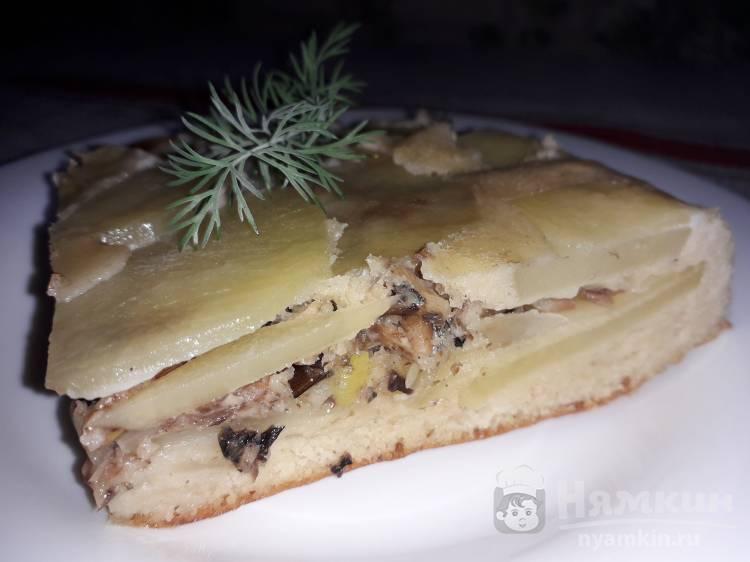 Пирог на кефире с картошкой и шпротами