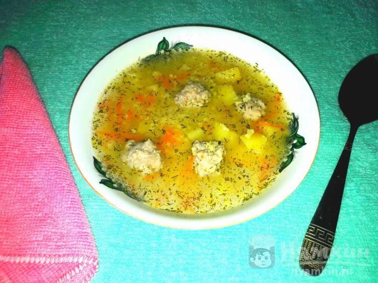 Суп с пшеном и куриными фрикадельками в мультиварке