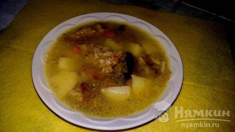Суп с мясом и овсяными хлопьями