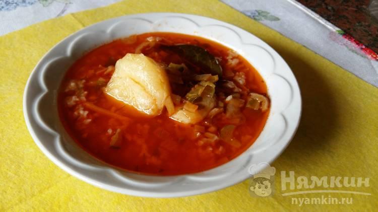 Постный томатный суп с рисом