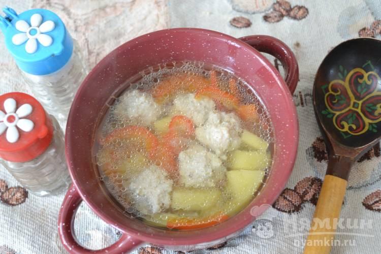 Суп с овощами и куриными фрикадельками