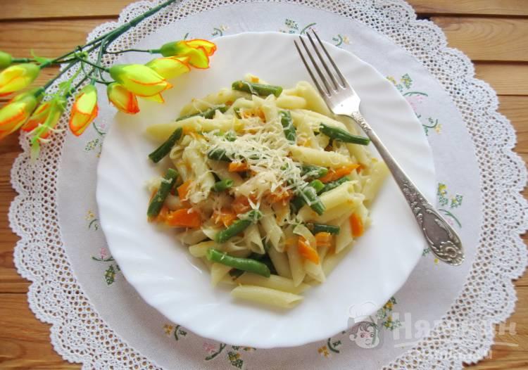 Макароны с тыквой и зеленой фасолью