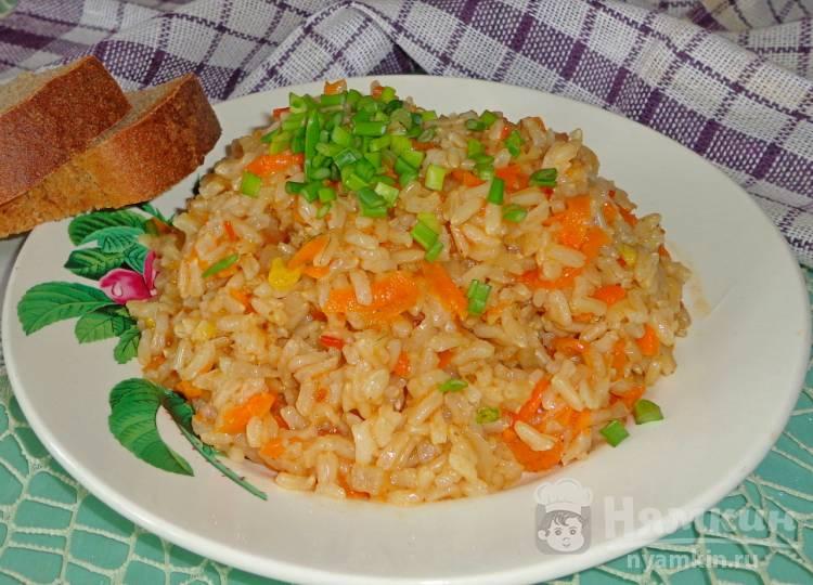 Плов из бурого риса без мяса