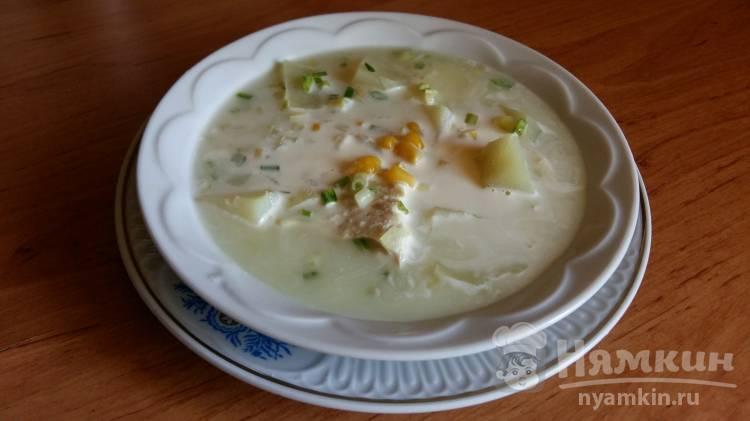 Суп с курицей, кукурузой и сметаной