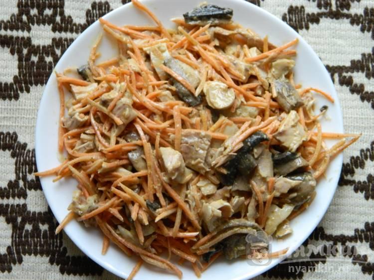 Салат с курицей, грибами и морковью по-корейски