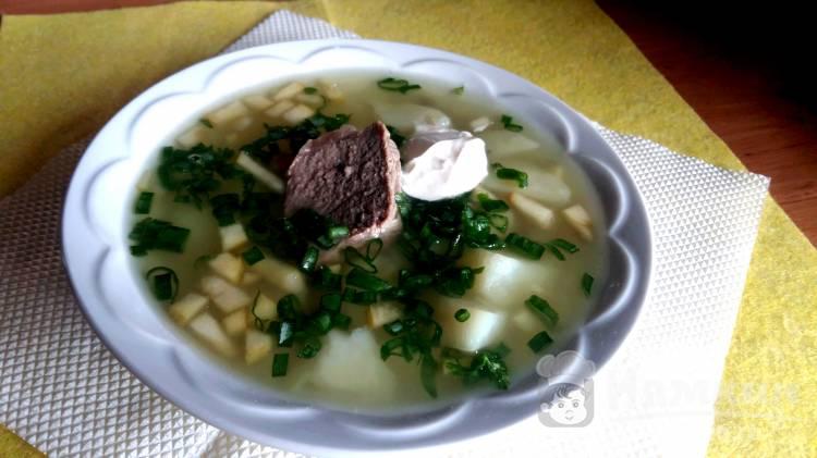 Легкий суп с мясом, яблоками и зеленью