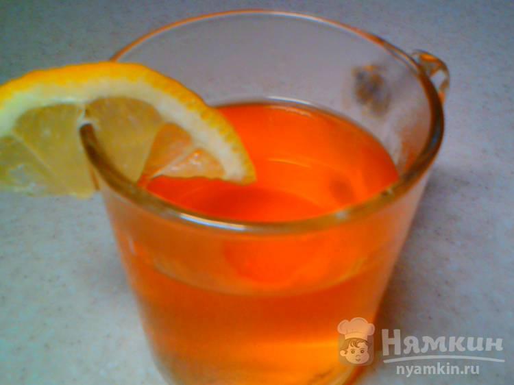 Чай чёрный с замороженными яблоками и лимоном