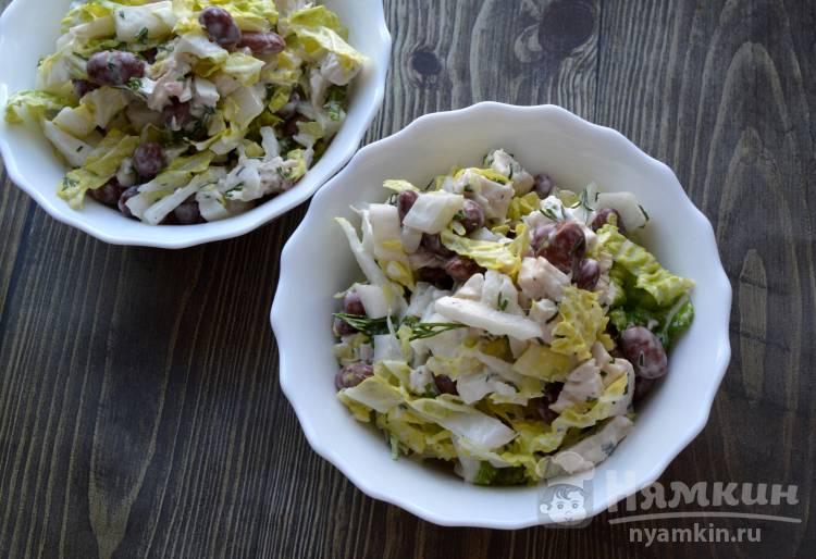 Салат с пекинской капустой курицей и фасолью