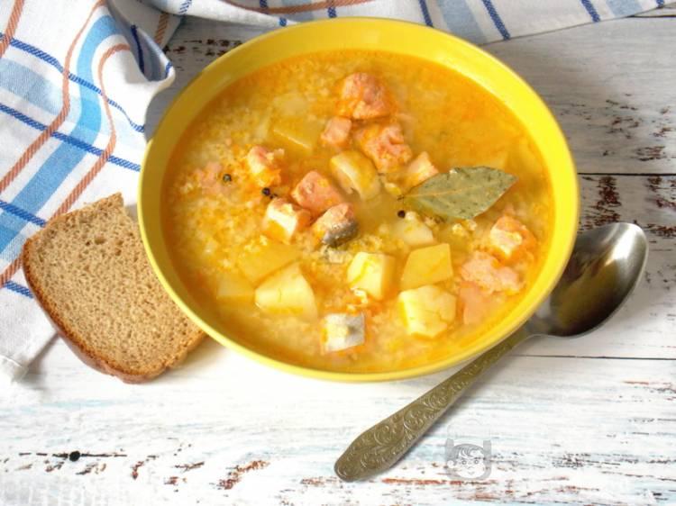 Суп из форели с пшеном