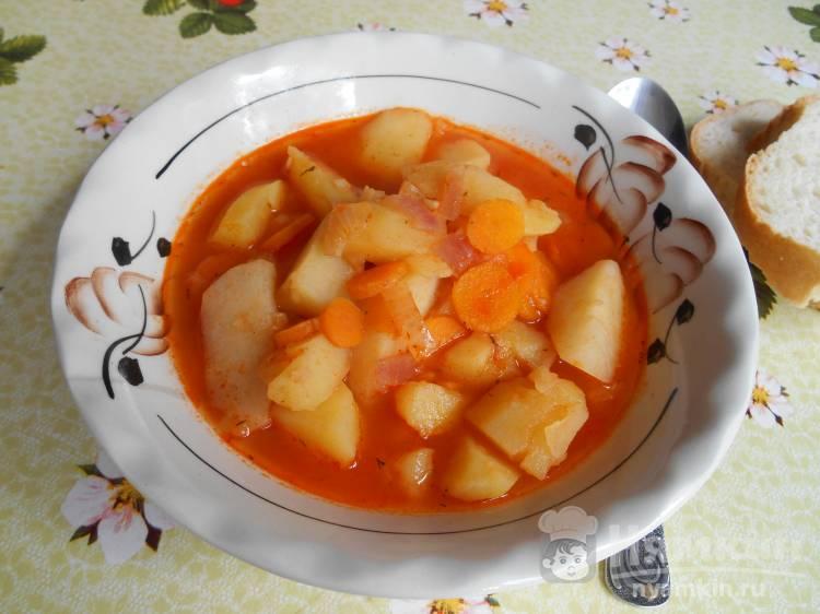 Картофель тушёный в томате