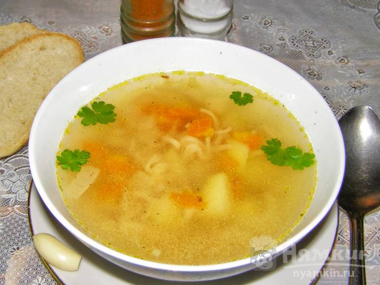 Суп с лапшой быстрого приготовления