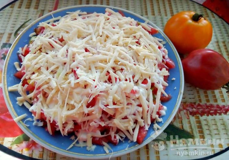 Салат слоями с колбасой, сухариками, сыром