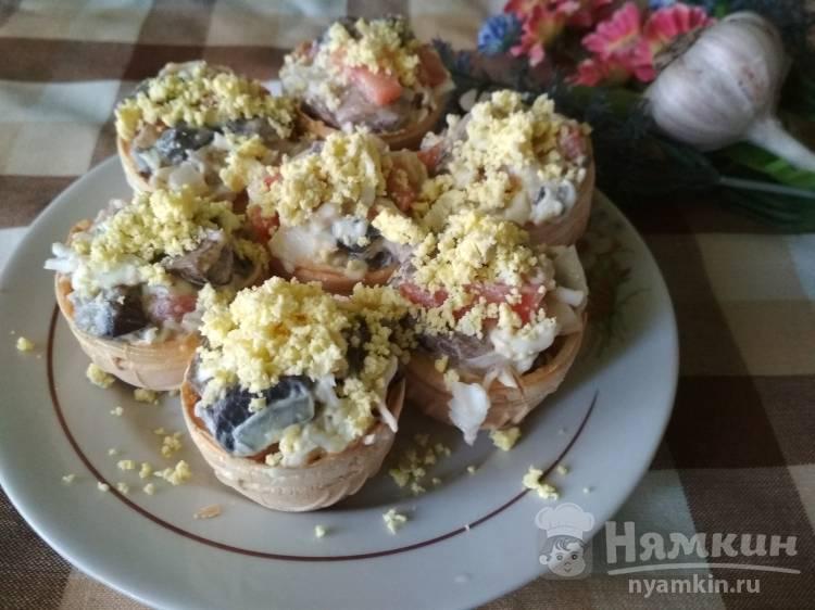 Очень вкусные тарталетки с салатом