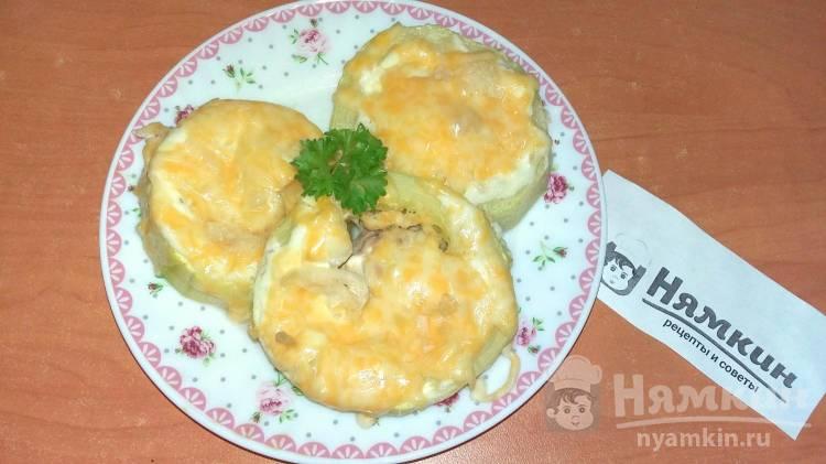 Колечки из кабачков с фаршем, сыром и чесноком в духовке