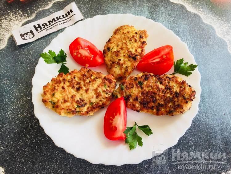 Котлеты из куриного фарша с кабачками на сковороде гриль: сочные и ароматные