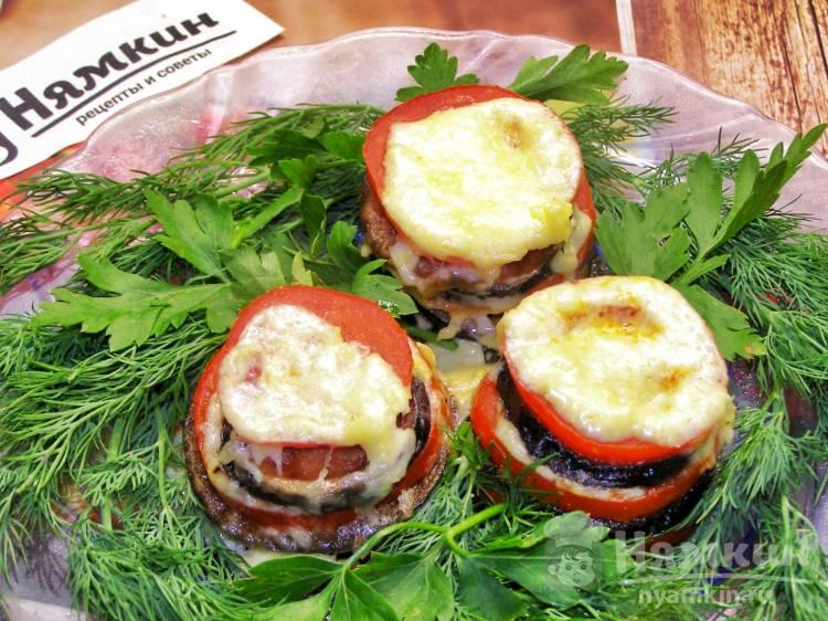 Закуска из баклажанов с помидорами и сыром в микроволновке