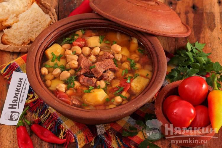 Азербайджанский суп Пити с нутом и говядиной в горшочках