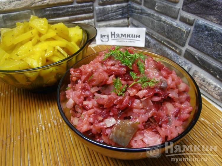 Салат из свеклы с рисом, сельдью и луком